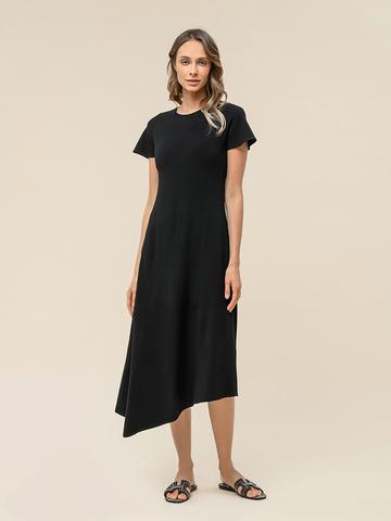 Женское асимметричное платье черного цвета из вискозы - фото 1