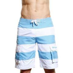 Мужские пляжные шорты Abercrombie&Fitch белые в голубую полоску