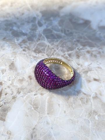 Кольцо Бурлеск из позолоченного серебра с розовыми цирконами