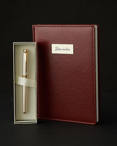Набор с гравировкой: Ежедневник недатированный и Ручка роллер Parker IM Premium Warm Grey GT123