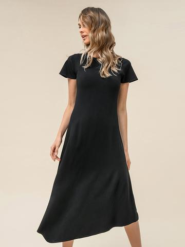 Женское асимметричное платье черного цвета из вискозы - фото 4