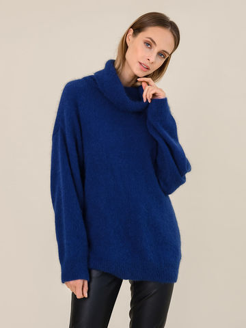 Женский свитер синего цвета из ангоры - фото 2