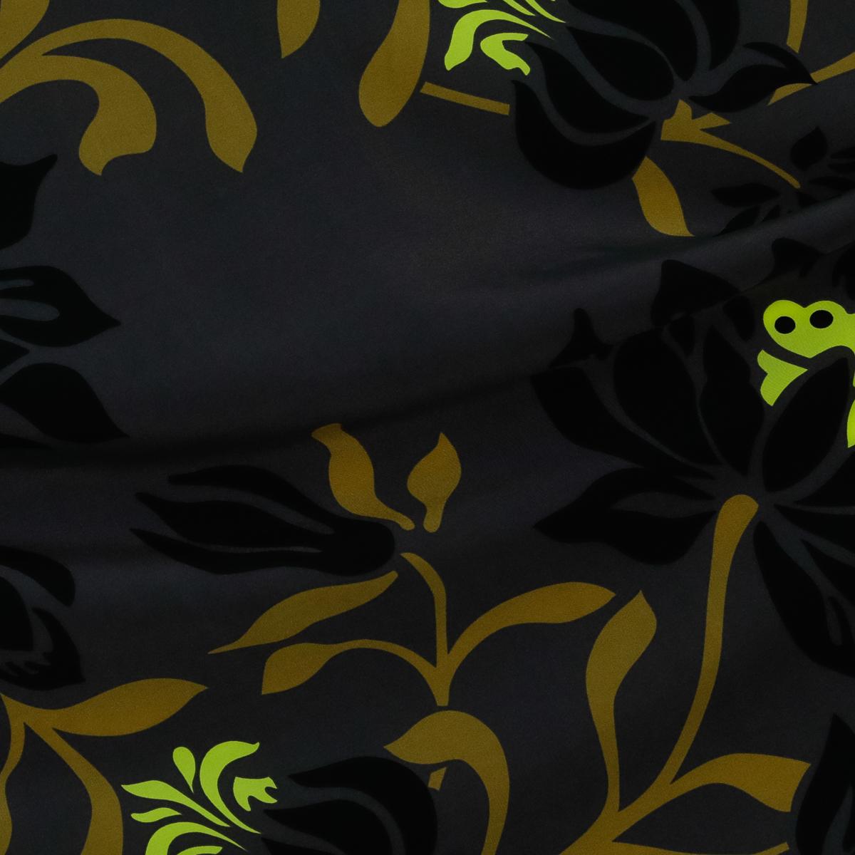 Шёлковый крепдешин тёмно-серого цвета с неоновыми акцентами