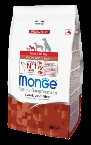 купить сухой корм Monge Speciality Line Mini Puppy&Junior Lamb and Rice для щенков мелких пород с ягненком, рисом и картофелем
