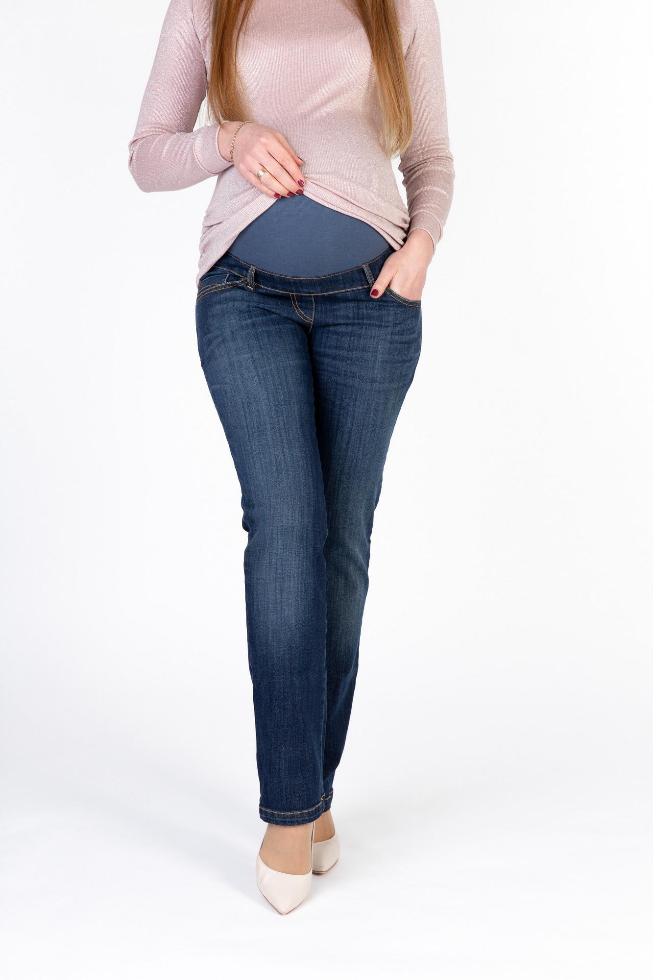 Фото джинсы для беременных 9Fashion, прямые, высокая трикотажная вставка от магазина СкороМама, синий, размеры.