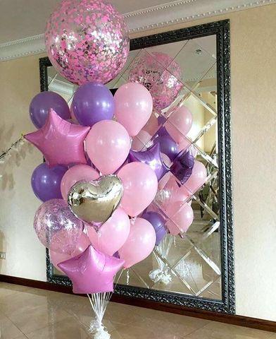 Фонтан из шаров Розовая сирень