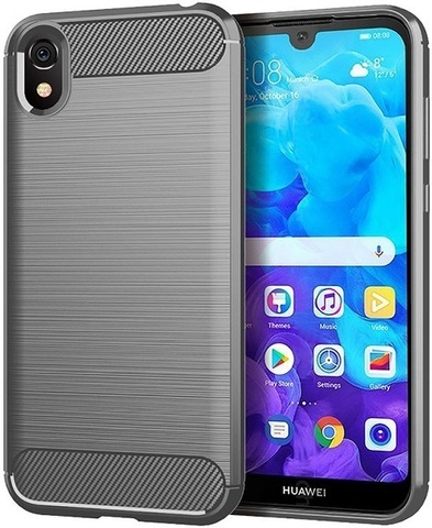 Чехол Carbon для Huawei Y5 (2019)/Honor 8S серия Карбон | серый