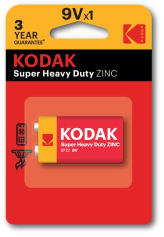 Батарейки Kodak 6F22, 9V крона (1/10) BL
