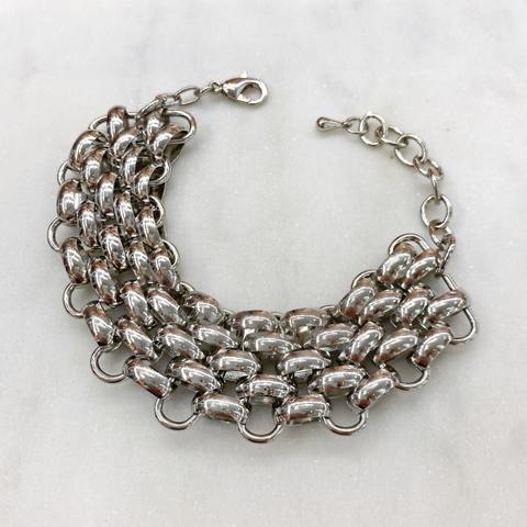 Браслет-цепь плетеный (серебристый)