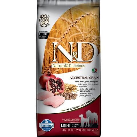 Farmina N&D Ancestral Grain Dog Light Adult Medium & Maxi сухой низкозерновой корм для собак средних и крупных пород с курицей - 12 кг