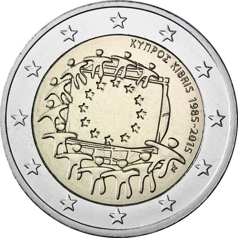 2 евро 2015 Кипр 30 лет флагу Евро Союза