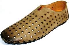 Летние мужские мокасины из натуральной кожи Luciano Bellini 107703 Beige.