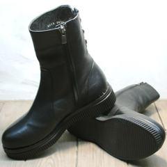 Полусапожки на широком каблуке женские зимние G.U.E.R.O G019 8556 Black.