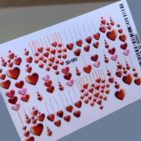 3D слайдер для ногтей праздничные сердечки микс, 3D-563