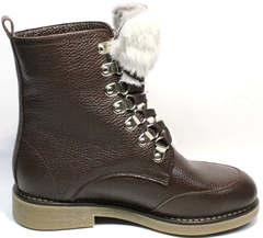 Женские ботинки зимние. Модные ботинки на шнуровке с мехом Studio27 Broun