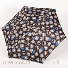 Темно-серый плоский mini зонт NEX с котами с зонтиками