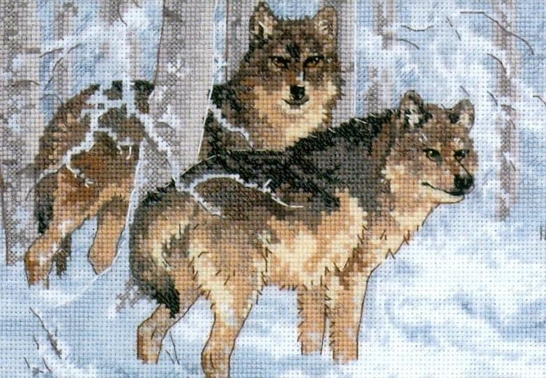 Набор для вышивания Зимние волки. Арт. 1031