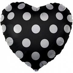 К 18''/46см, Сердце, Белые точки, Черный.