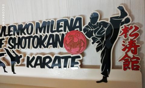 Медальница ДекорКоми с именем и фамилией из дерева Шотокан Каратэ Shotokan Karate