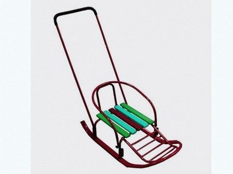 Санки ВЕЛ-2 бордо, трансформер , 2 положения поручня, полозья-труба, подножка) :(ВЕЛ-2):