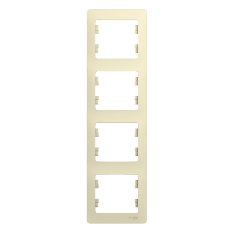 Рамка на 4 поста, вертикальная. Цвет Бежевый. Schneider Electric Glossa. GSL000208