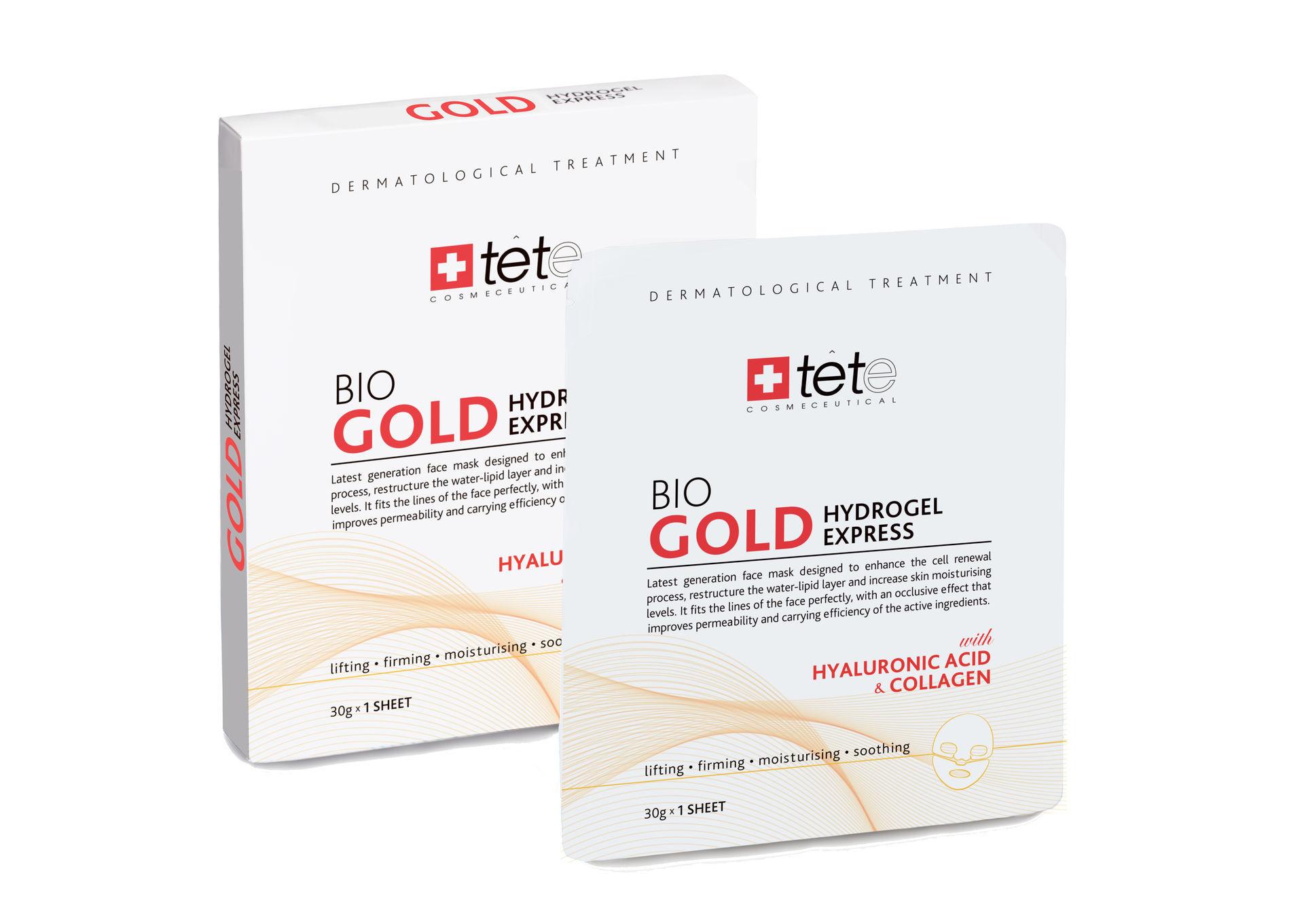 Коллагеновая маска моментального действия с коллоидным золотом, упаковка (4 штуки) /  TETe BIO Gold Collagen Mask