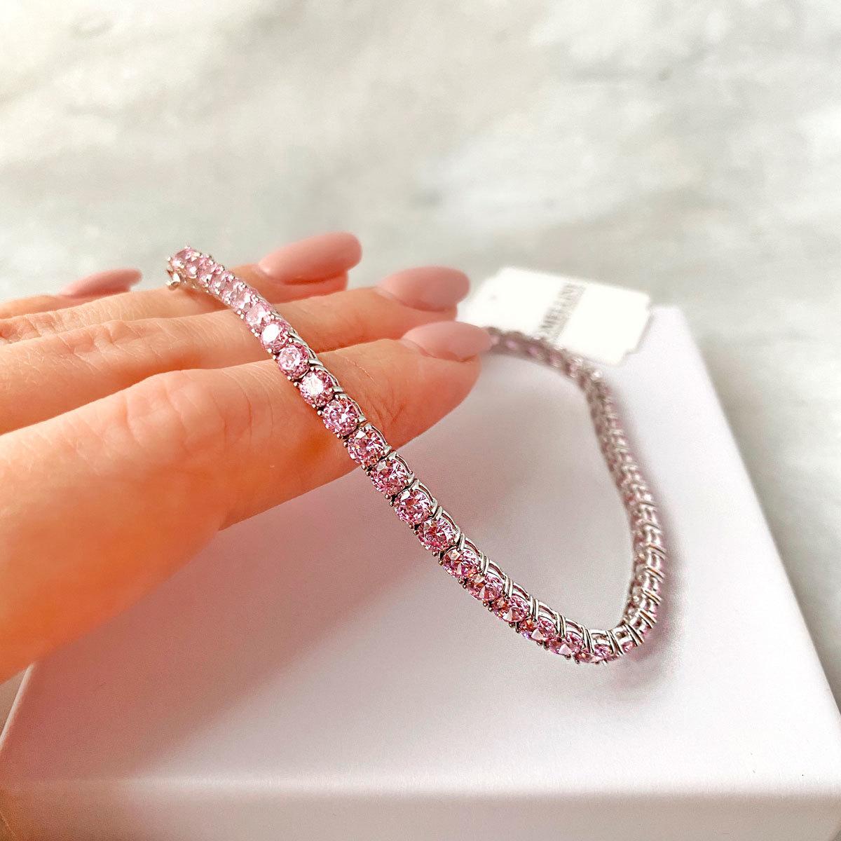 Браслет Теннисный круглой огранки pink diamond (серебро 925)