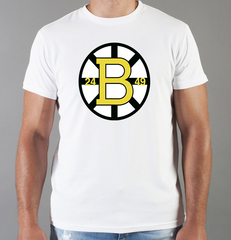 Футболка с принтом НХЛ Бостон Брюинз (NHL Boston Bruins) белая 008