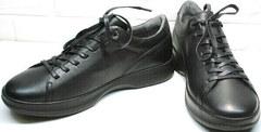 Черные кожаные кеды кроссовки мужские повседневныеы весна осень Ikoc 1725-1 Black.