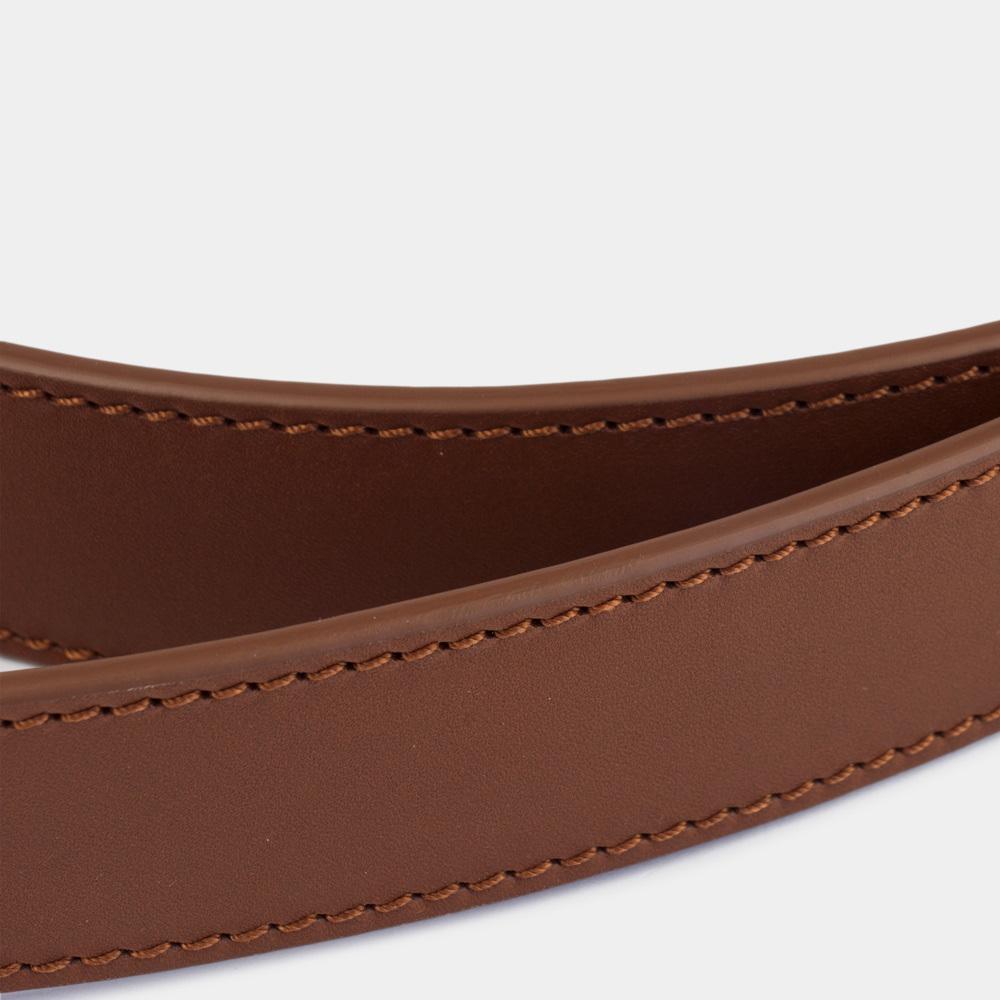 Ремень кожаный мужской коричневого цвета ширина 35мм