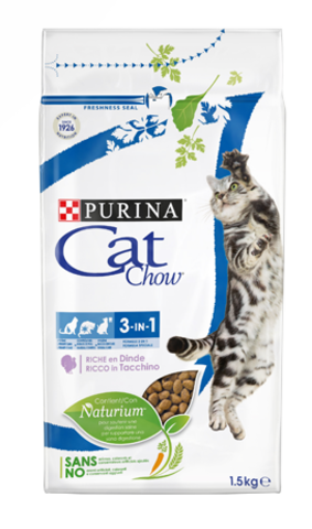 Cat Chow Фелин 3 в 1 для взрослых кошек профилактика 3 болезней