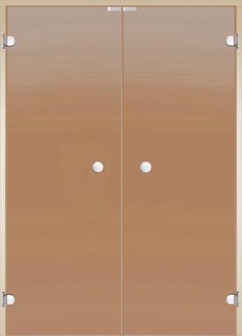 Дверь Harvia двойная стеклянная 17х21, коробка ольха/осина, стекло бронза