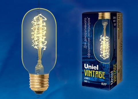 IL-V-L45A-40/GOLDEN/E27 CW01 Лампа накаливания Vintage. Форма «цилиндр», длина 113 мм. Форма нити CW. Картон. ТМ Uniel