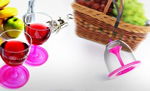 Набор складных бокалов Asobu Stack n' go vino (2 х 0,4 литра), розовый
