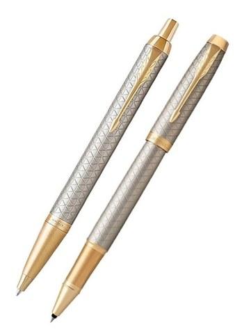 Подарочный набор: Роллер и Шариковая ручки Parker  IM Premium Warm Silver grey GT123