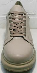 Кожаные женские кроссовки на осень Markos 1523 All Beige.