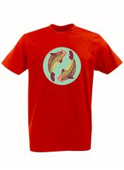 Футболка с принтом Знаки Зодиака, Рыбы (Гороскоп, horoscope) красная 006