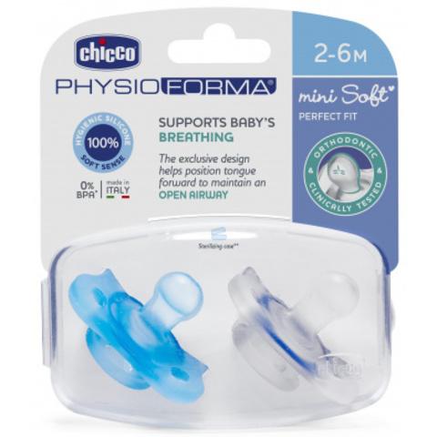 Chicco. Пустышка PhysioForma Mini Soft, силикон, 2-6м., 2 шт.,мальчик