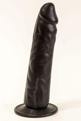 Рельефный чёрный фаллоимитатор на присоске - 16,5 см.