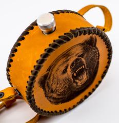 Фляга круглая, натуральная кожа с художественным выжиганием, 500 мл, фото 2