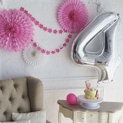 Воздушный шар (40''/102 см) Цифра, 4, Серебро, 1 шт.