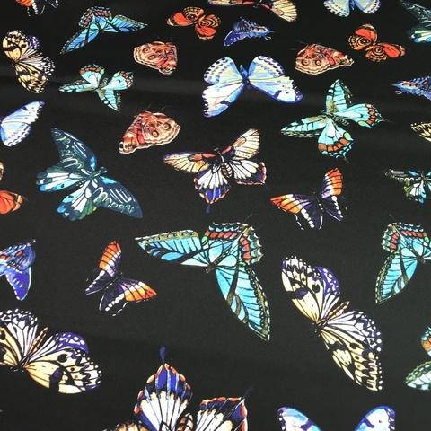 шелк с бабочками черный фото