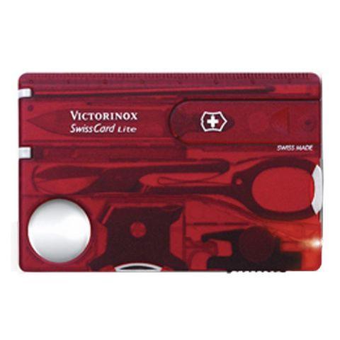 Швейцарская карта Victorinox SwissCard (0.7300.TB1) Lite 13 функций прозр красный блистер