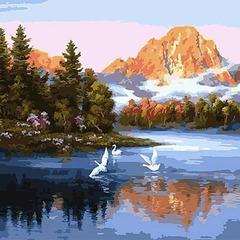 Картина раскраска по номерам 40x50 Лебеди над рекой