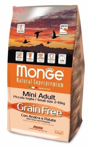 купить Monge Dog GRAIN FREE Mini беззерновой корм для собак мелких пород утка с картофелем 2,5 кг