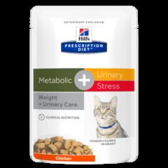 Пауч для кошек Hill`s Prescription Diet Metabolic + Urinary Stress, при профилактике цистита, вызванного стрессом и способствует снижению и контролю веса, с курицей