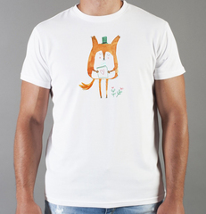Футболка с принтом Лиса (Лисенок, fox) белая 028