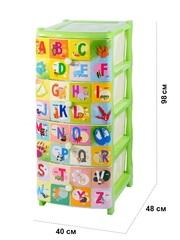 Комод детский с рисунком №2 Алфавит английский 4-х секционный салатовый из пластика Эльфпласт 40х48х98 см
