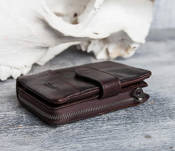 WL291-2 Мужской кожаный кошель с отделением на молнии фото 03