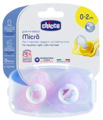 Chicco. Пустышка Physio Micro для принцессы силиконовая, 1уп/2 шт, 0-2 мес., карета/корона